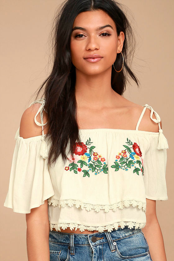 Above All Cream Embroidered Off-the-Shoulder Crop Top 1