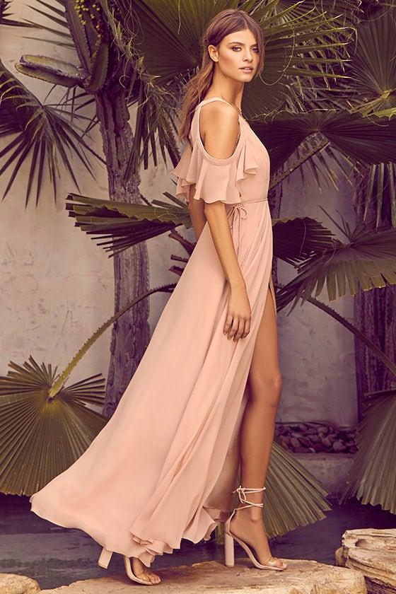 b9dfdd9012035 Easy Listening Blush Off-the-Shoulder Wrap Maxi Dress