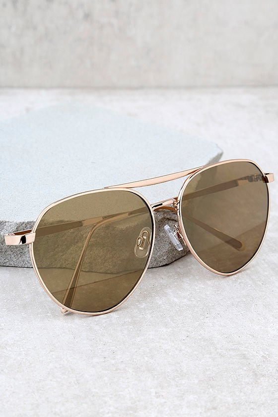 True Gem Gold Mirrored Aviator Sunglasses 1