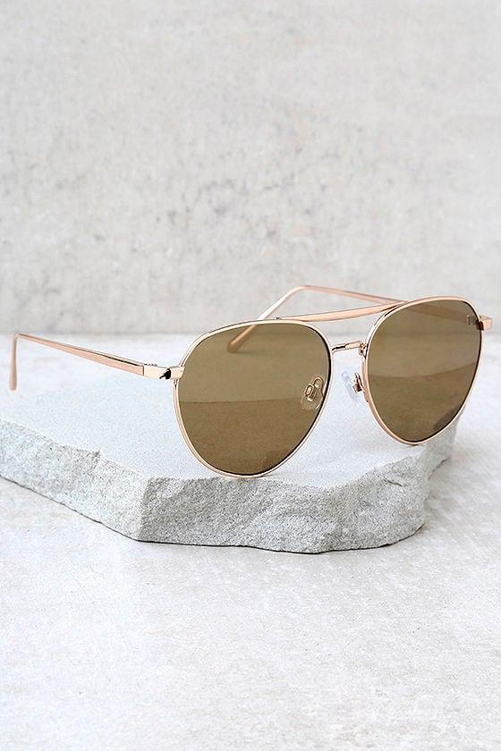 True Gem Gold Mirrored Aviator Sunglasses 2