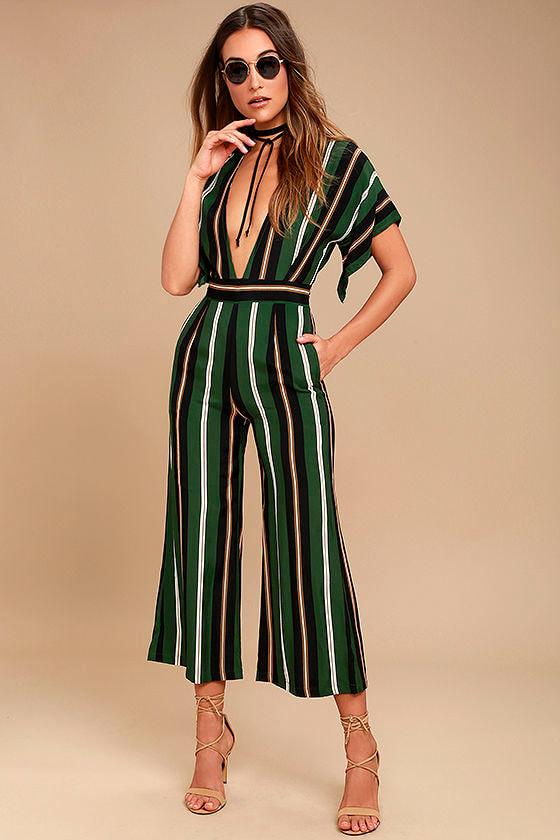Faithfull the Brand Cedric Green Striped Midi Jumpsuit 1