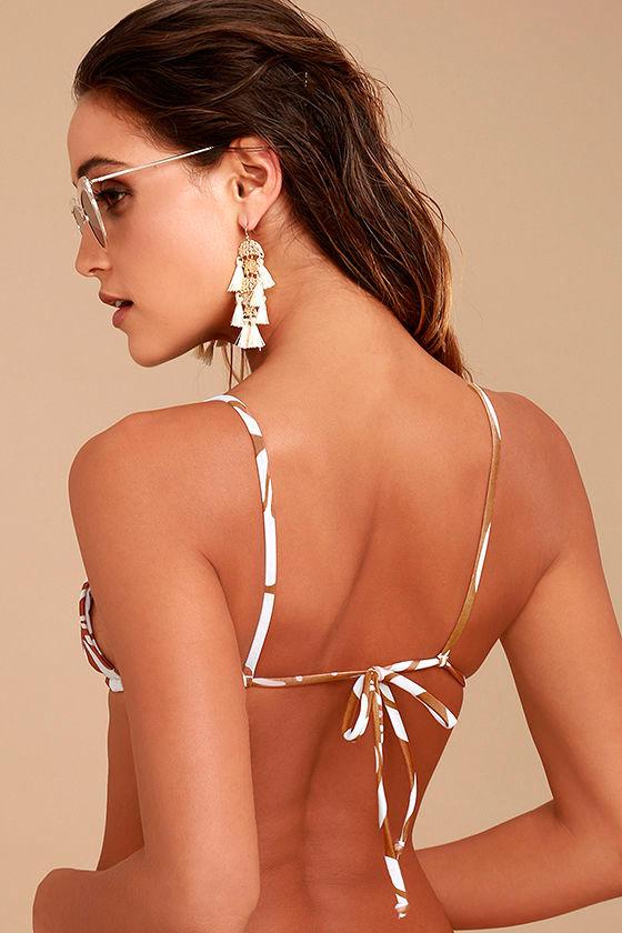 Stone Fox Sol Light Brown Floral Print Bikini Top 3