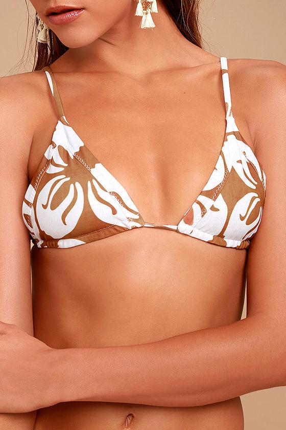 Stone Fox Sol Light Brown Floral Print Bikini Top 5