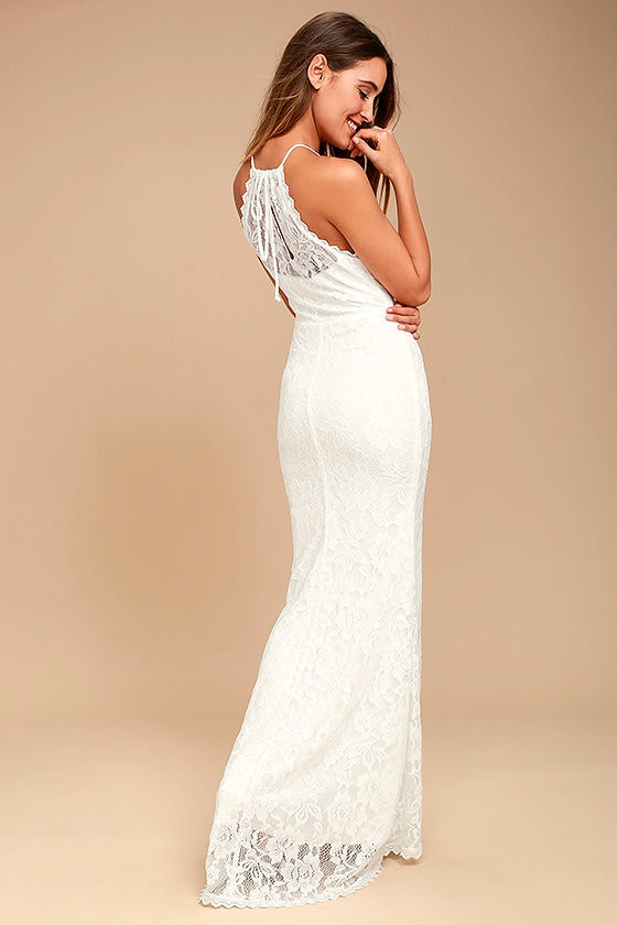 Evening Moon White Lace Maxi Dress 2