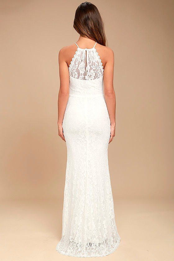 Evening Moon White Lace Maxi Dress 3