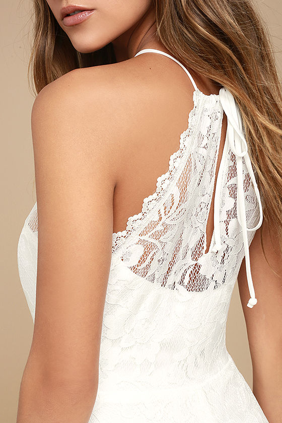 Evening Moon White Lace Maxi Dress 4
