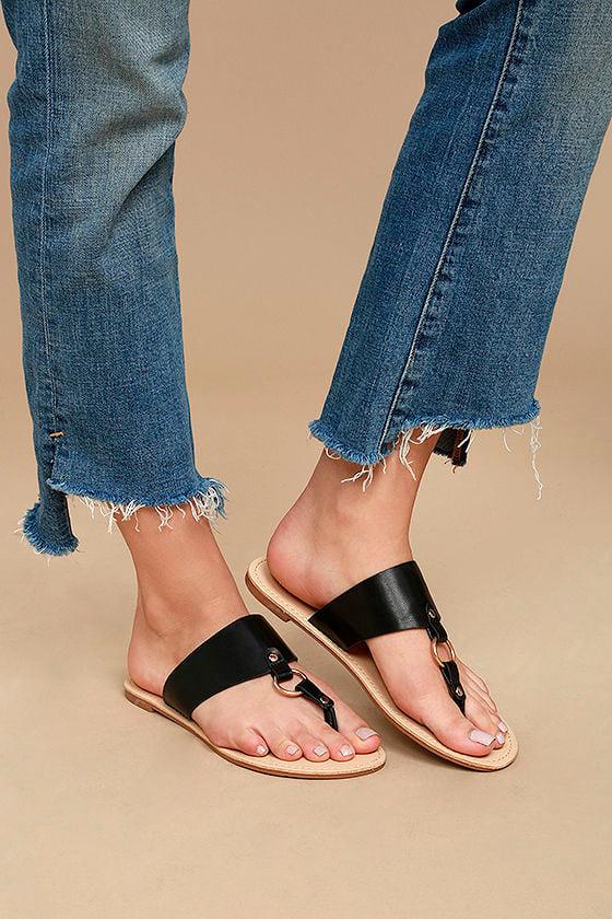 7a01707c956c40 Black Sandals - Flat Sandals - Vegan Leather Sandals - Thong Sandals ...
