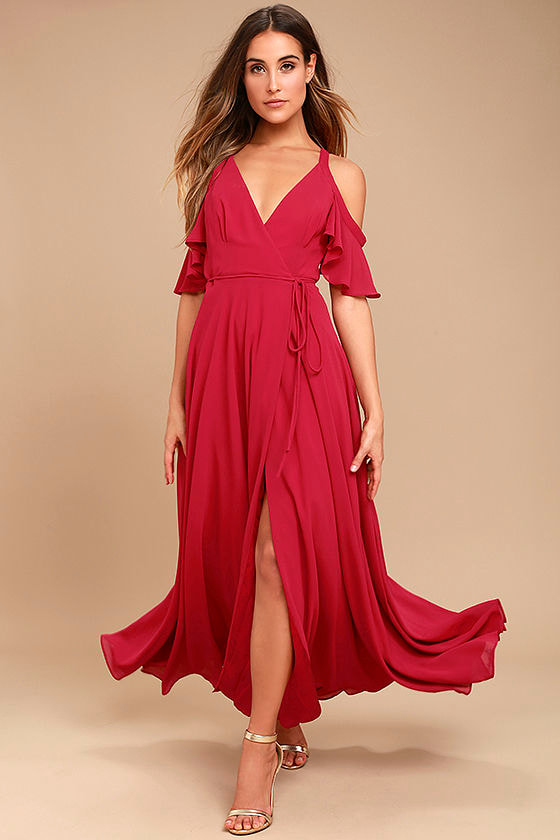 Berry Pink Ots Dress Maxi Wrap Dress Cold Shoulder Dress