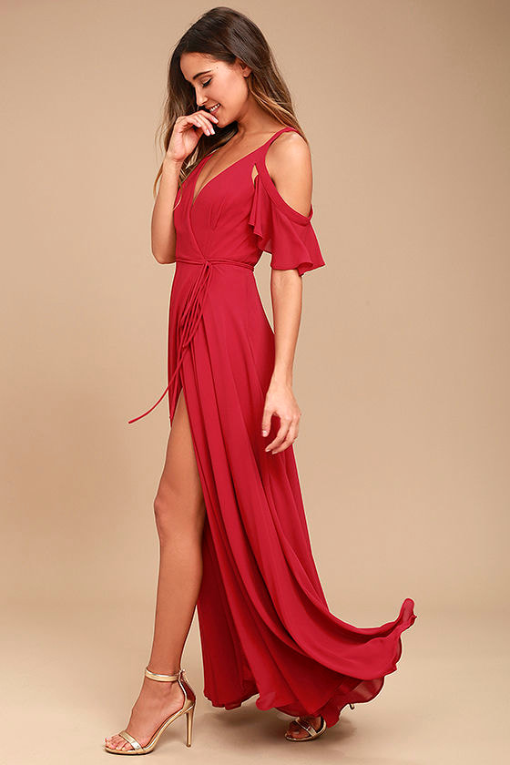 6fb63118f8dfe Easy Listening Berry Pink Off-the-Shoulder Wrap Maxi Dress