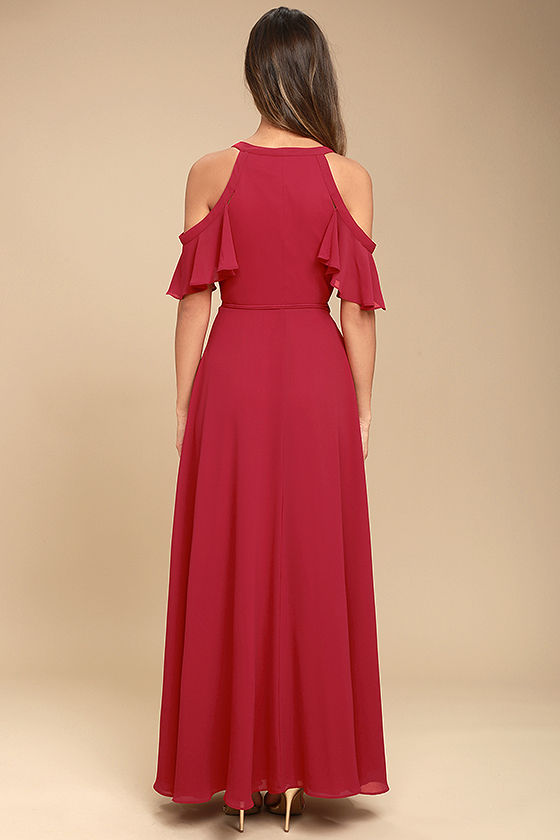 Easy Listening Berry Pink Off-the-Shoulder Wrap Maxi Dress 3