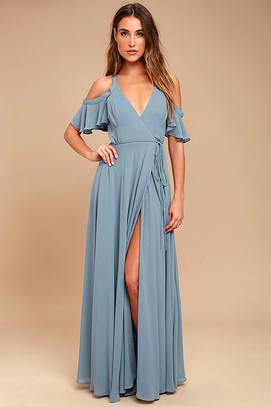 Lovely Slate Blue Dress - Maxi Dress - Off-the-Shoulder Dress ...