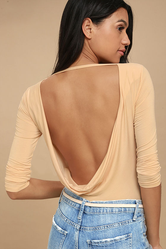 4ee0a122dd Sexy Light Beige Bodysuit - Long Sleeve Bodysuit - Backless Bodysuit -   33.00
