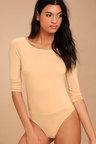 ae6ee5f688 Sexy Light Beige Bodysuit - Long Sleeve Bodysuit - Backless Bodysuit ...