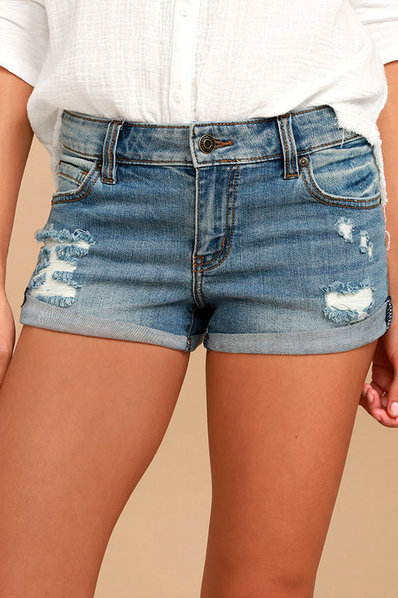 Cute Light Wash Shorts - Distressed Shorts - Denim Shorts - Low ...