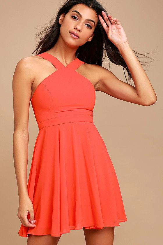 Lovely Coral Red Dress - Halter Dress - Skater Dress - Bridesmaid ...