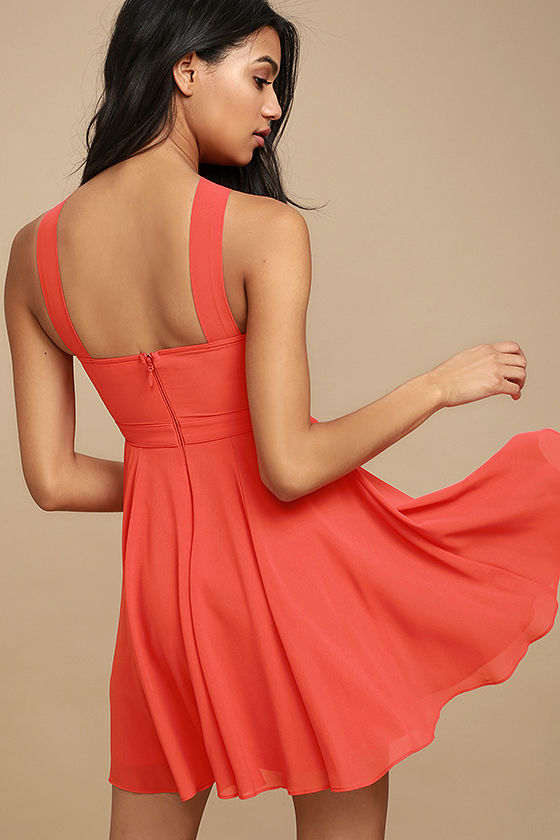 Forevermore Coral Red Skater Dress 3