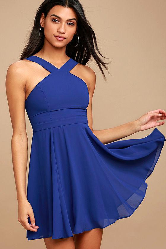 Forevermore Royal Blue Skater Dress 1