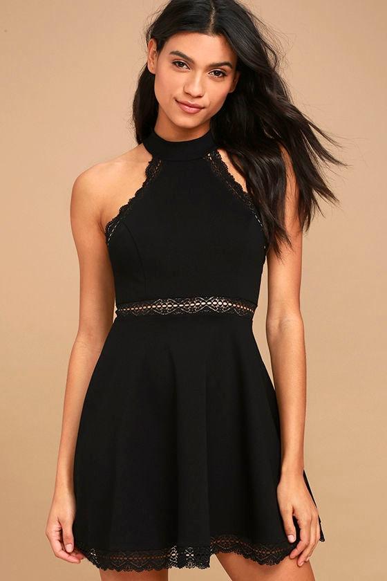 Sexy Black Dress - Lace Dress - Skater Dress - Halter ...