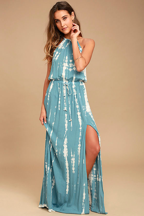 In a Daydream Blue and White Tie-Dye Maxi Dress 1