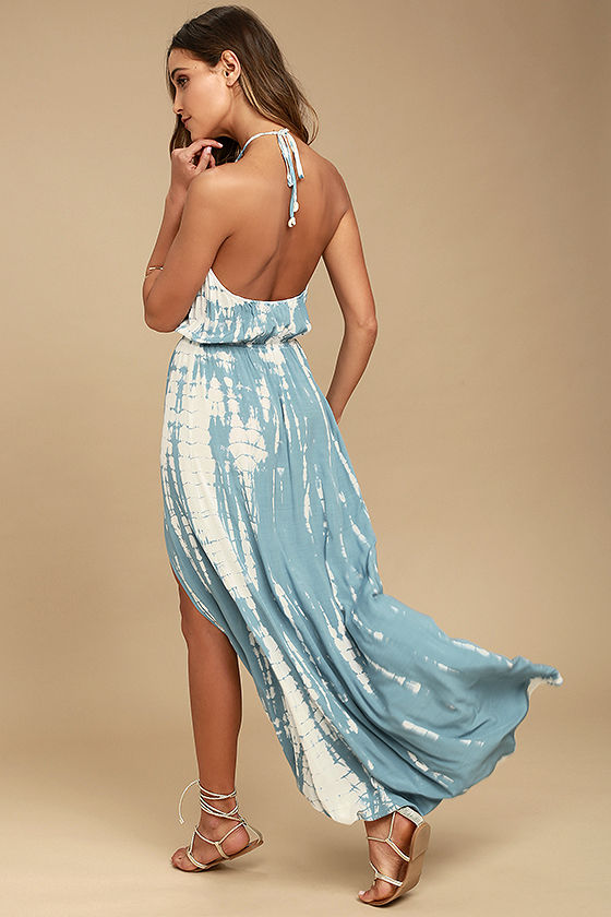 In a Daydream Blue and White Tie-Dye Maxi Dress 2