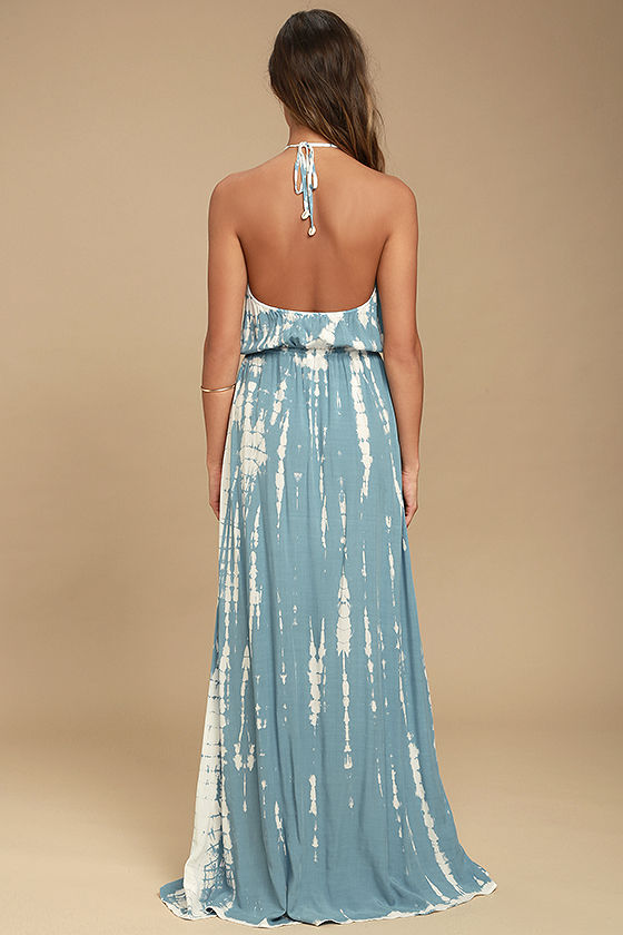 In a Daydream Blue and White Tie-Dye Maxi Dress 3