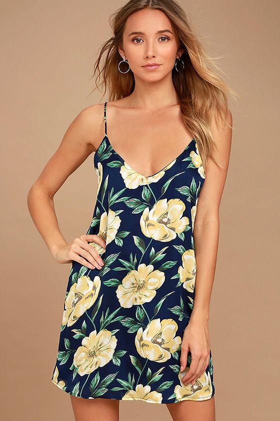 2ccbae888bac Sexy Navy Blue Floral Print Dress - Slip Dress - Shift Dress - $45.00