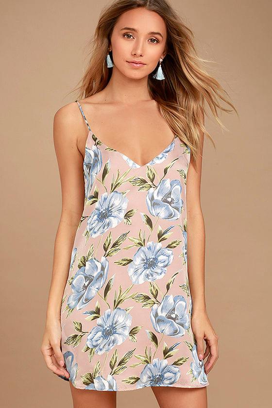 What a Dahlia Pink Floral Print Slip Dress 1