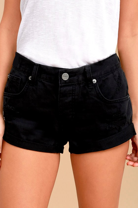 Amuse Society Crossroads Black Distressed Denim Shorts 1