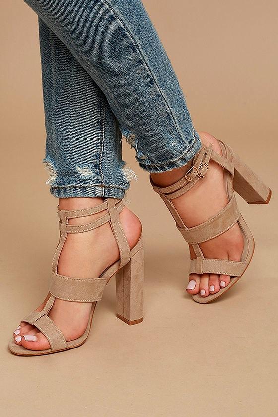 1ed3085585 Sexy Nude Heels - Vegan Suede Heels - Strappy Heels - Peep Toe Heels ...