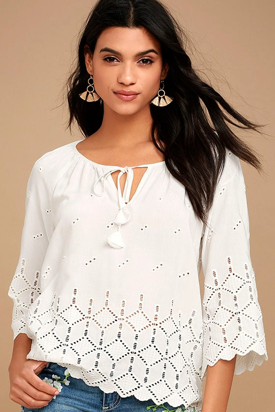 Lovely White Top - Eyelet Top - Lace Top - Long Sleeve Top - Peasant Top -   64.00 8c6fbe93b
