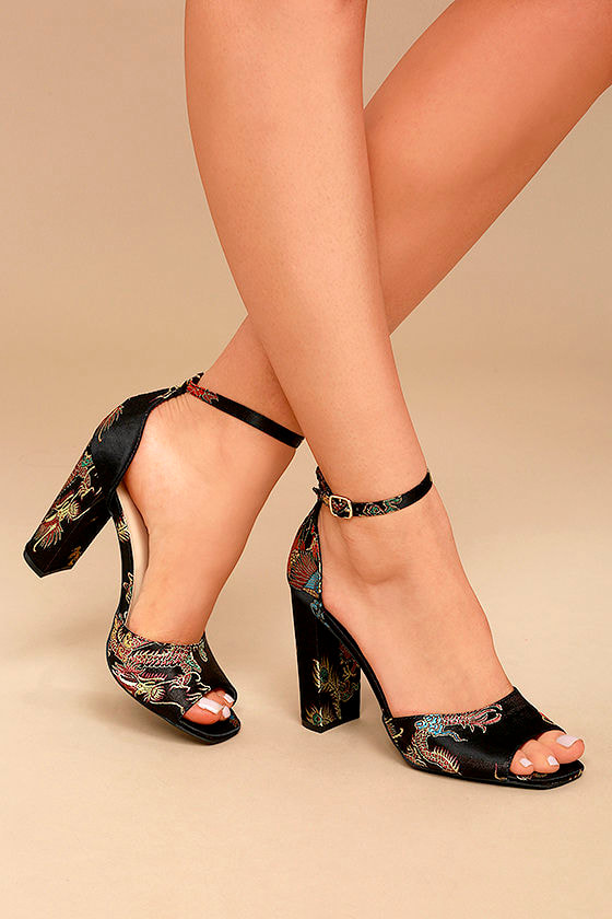 Avignon Black Brocade Ankle Strap Heels 2