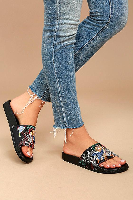 3bb8c9aec60aa Steve Madden Sparkly Sandals - Black Multi Sandals - Slide Sandals ...