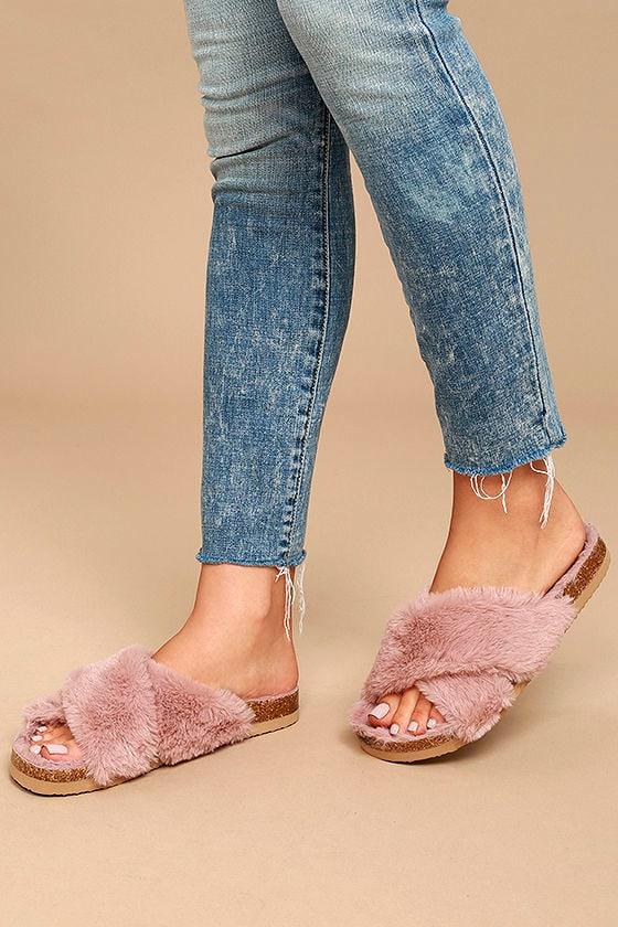 b6cb3bf6f3dcb BC Footwear Myth - Light Pink Faux Fur Slides - Fur Sandals -  65.00
