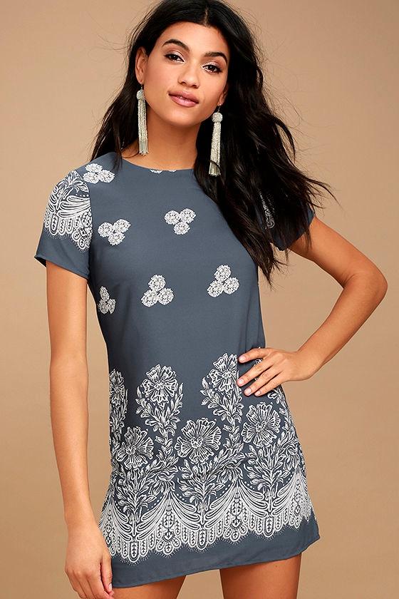 Riverside Slate Blue Floral Print Shift Dress 1