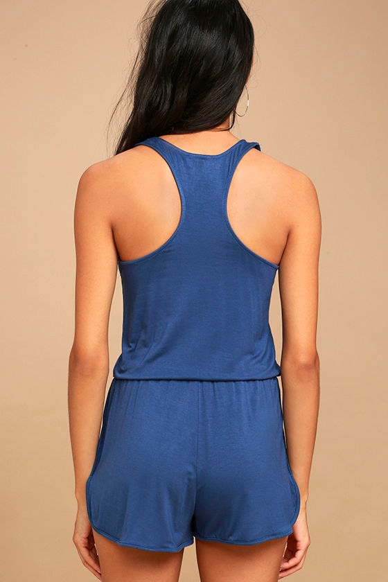 Extracurricular Denim Blue Romper 3