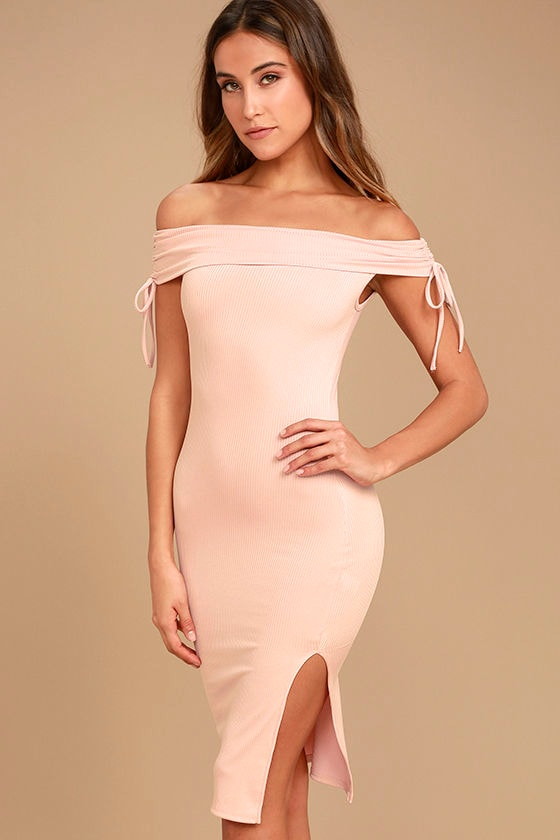 ea05a86e7063c Sexy Blush Pink Dress - Off-the-Shoulder Dress - Bodycon Dress - Midi Dress  - $49.00