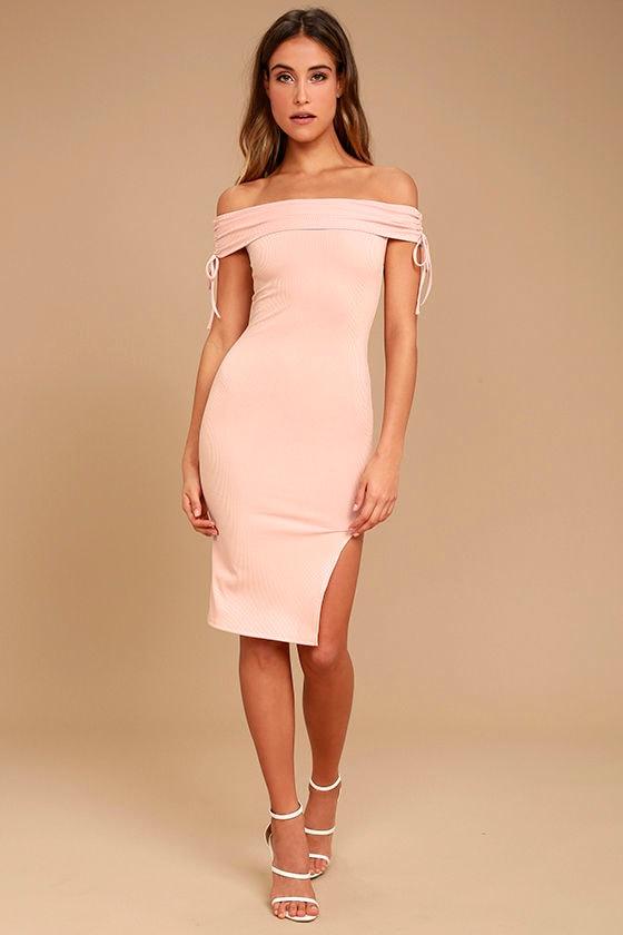 d138fd7cba Sexy Blush Pink Dress - Off-the-Shoulder Dress - Bodycon Dress ...