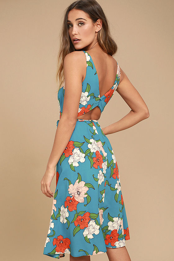 Country Club Teal Blue Floral Print Wrap Dress 2