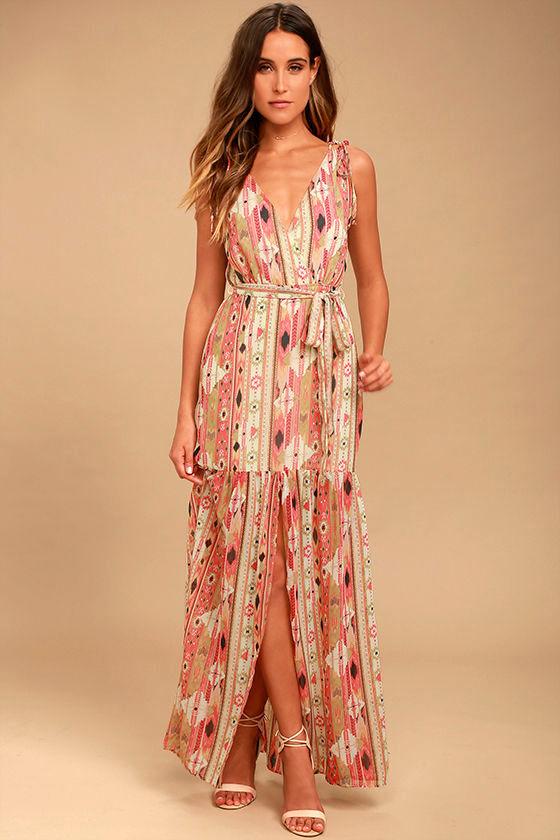 Boho Dress - Coral Pink Print Dress - Maxi Dress - $64.00