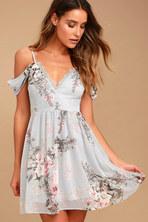531379f11d Verona Light Blue Floral Print Off-the-Shoulder Lace Dress