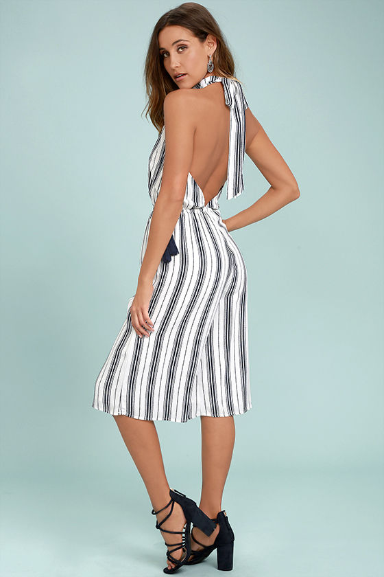 Sea What I Mean Navy Blue and White Striped Midi Jumpsuit 1