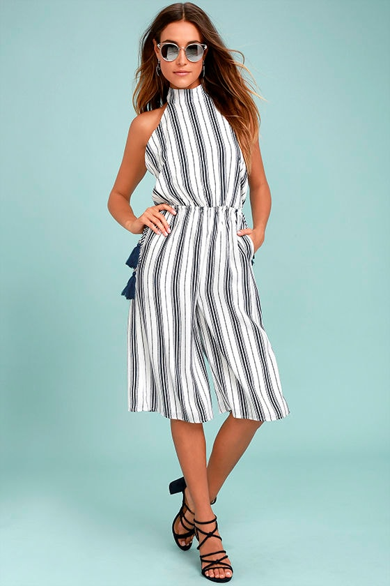 Sea What I Mean Navy Blue and White Striped Midi Jumpsuit 2