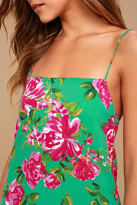 Impressionist's Garden Mint Green Floral Print Midi Dress 4