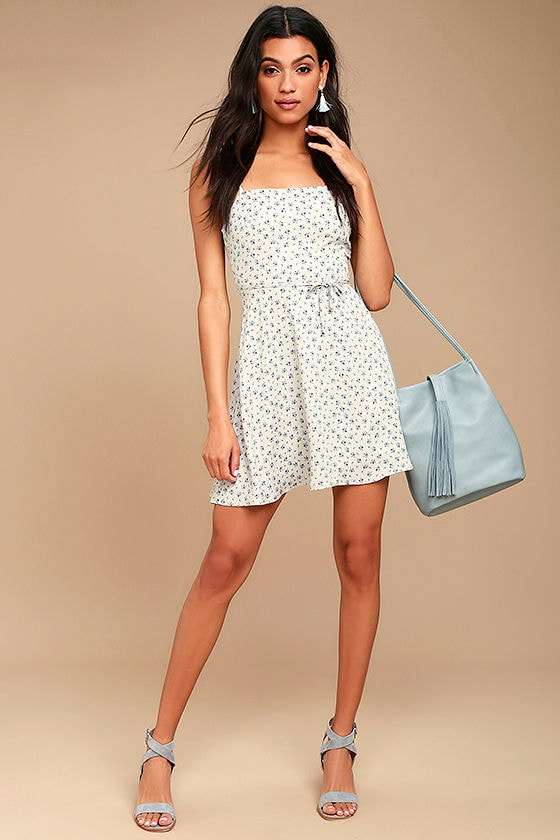 Sunny Hillside Ivory Floral Print Skater Dress 2