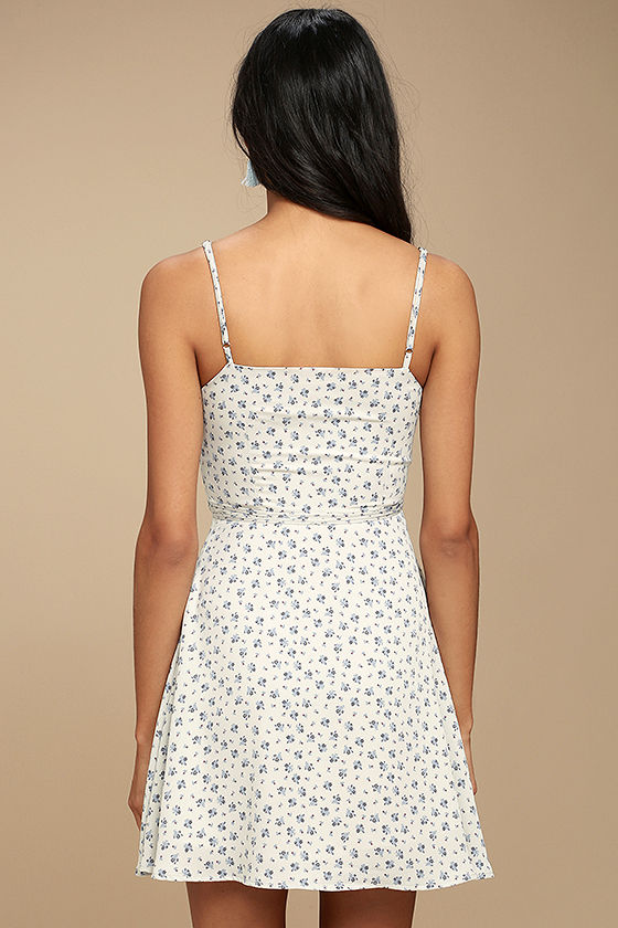 Sunny Hillside Ivory Floral Print Skater Dress 3