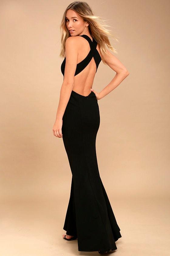 Elegant Black Dress - Maxi Dress - Open Back Maxi Dress - $74.00