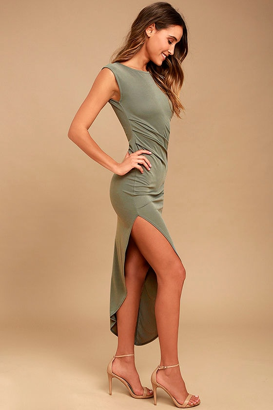 Positive Perspective Olive Green Midi Wrap Dress 2