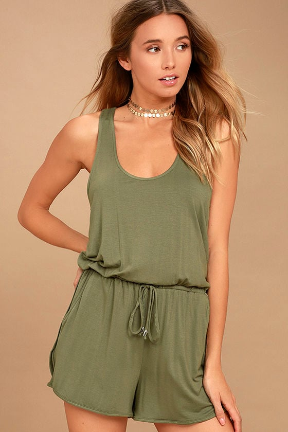 Extracurricular Olive Green Romper 1