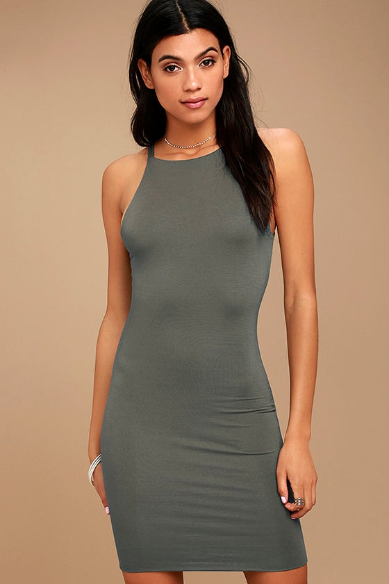 I Bet Charcoal Grey Bodycon Dress 1