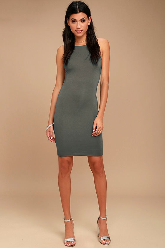 I Bet Charcoal Grey Bodycon Dress 2